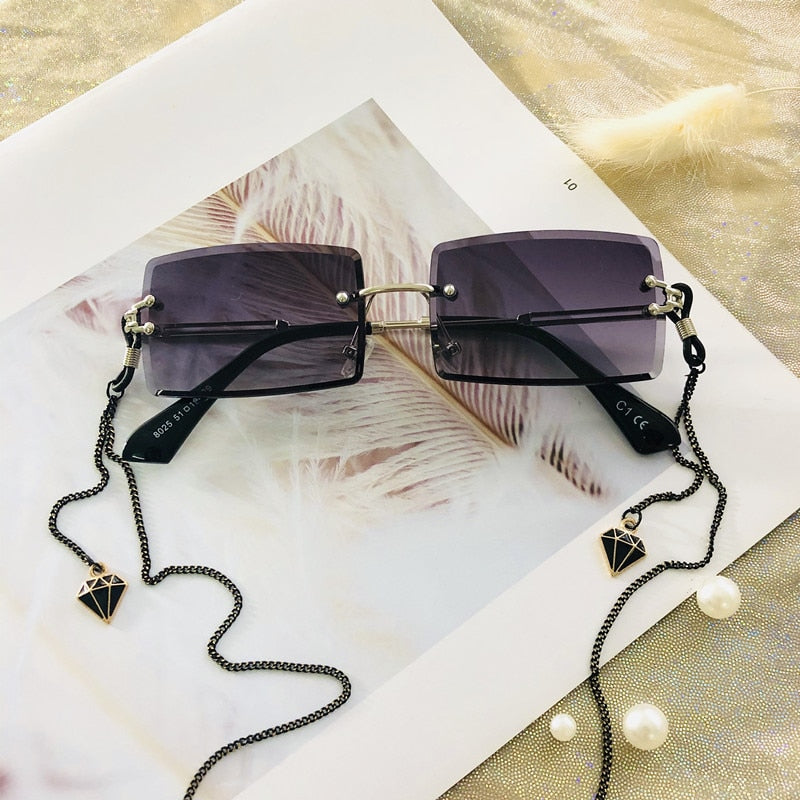 Rimless Small Rectangle Sun Glasses.