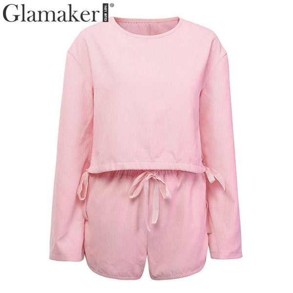 Glamaker Corduroy long sleeve pink jumpsuit Women sexy two piece suit jumpsuit romper Female autumn winter short playsuit romper