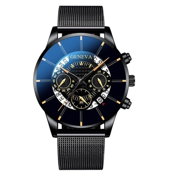 Men's Stainless Steel Calendar Quartz Wristwatch.