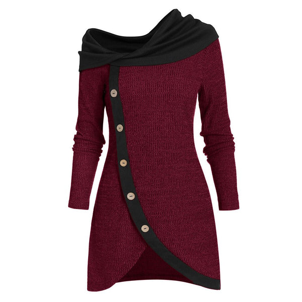 Plus Size Long Sleeve Solid Botton Asymmetric Tops Autumn Winter Top.
