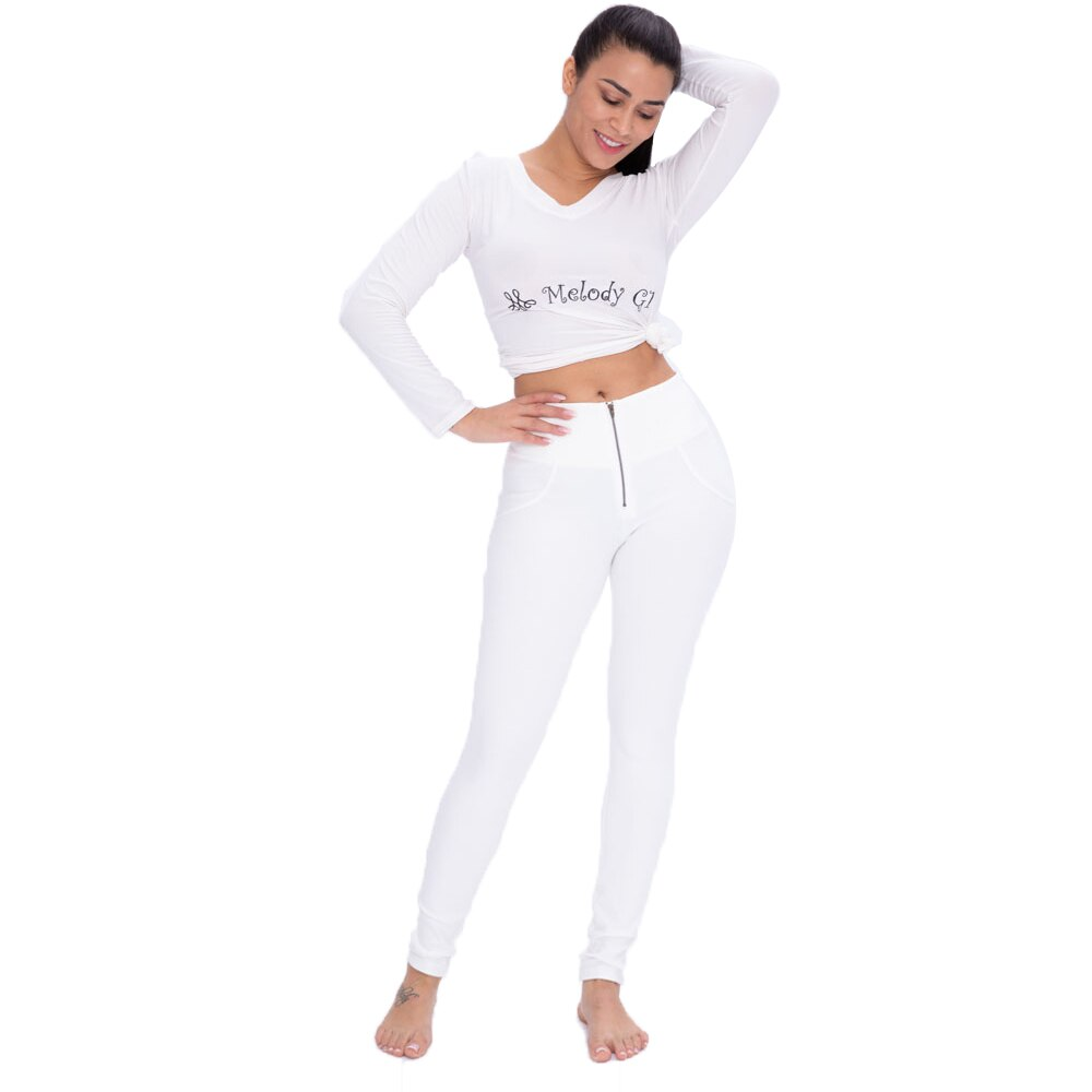 High/Mid Waist Skinny-fit in White Color.