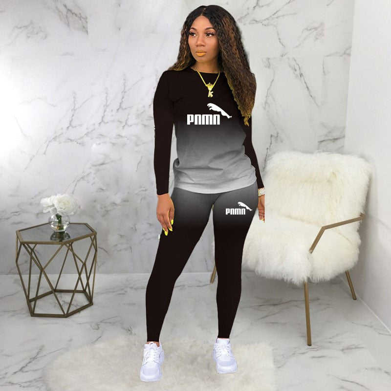 Two Piece base Set Tracksuit Casual Sports Gradient Print Top. plus size available.