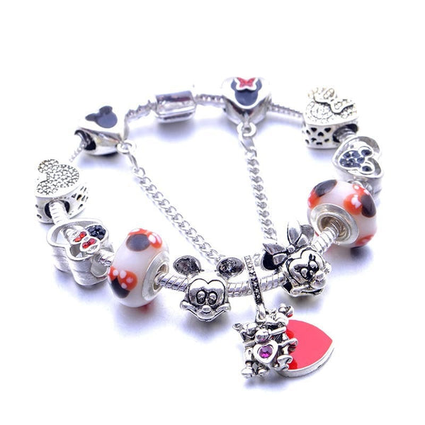 Cross-Border Anime Cute Mickey & Minnie Bear Cuddling Caring Children Bracelet.