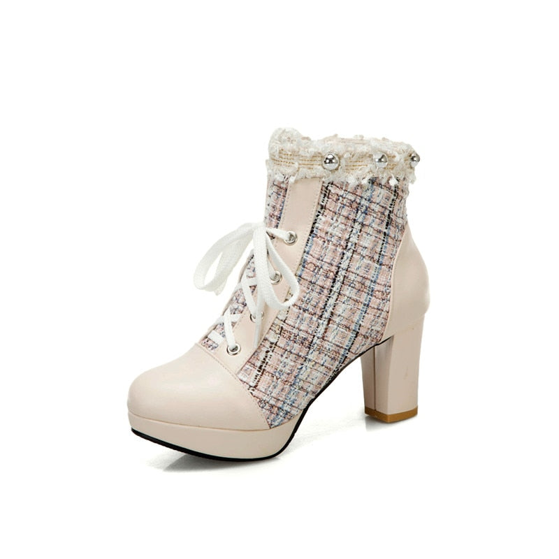 Square High Heels Platform Tweed Shoes Lace up Round Toe.