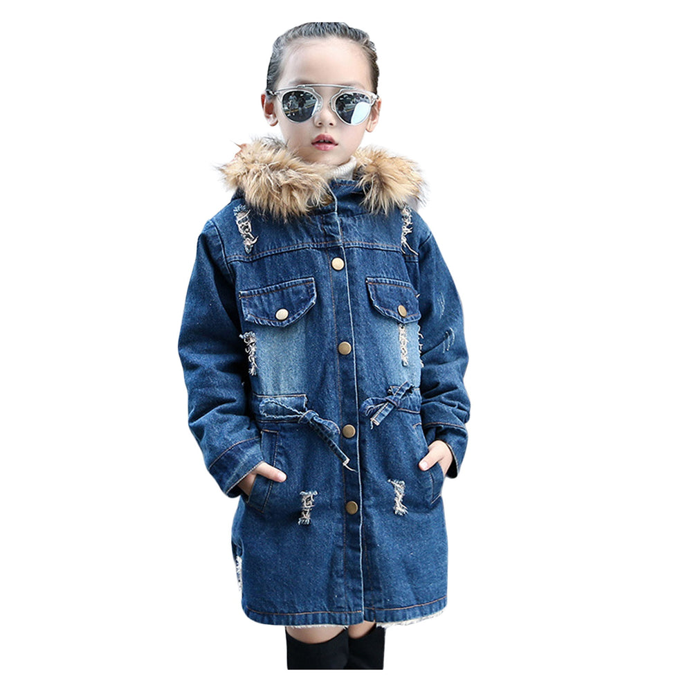 Hooded Wool Collar Warm Girdle Denim Coat Ripped Denim Jacket Winter.