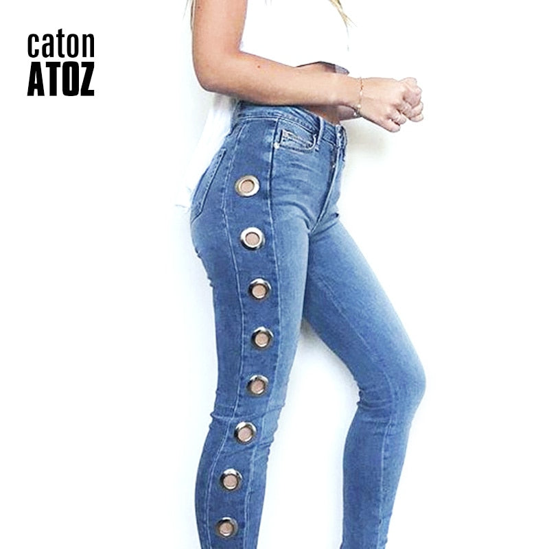 Mid High Waist Eyelets Jeans Women`s Stretchy.
