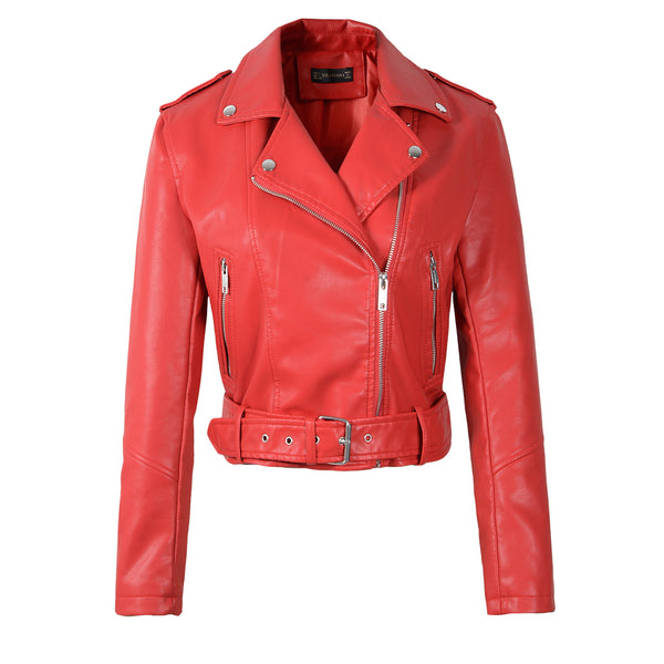 2020 New Women Autumn Winter Faux Soft Leather Jackets Lady White Red Black Green PU Zippers Motorcycle Street Coats with Belt