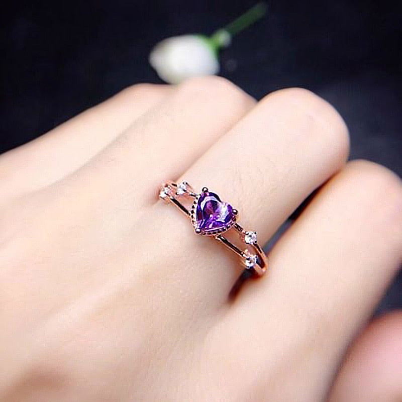 Purple heart on Rose gold engagement rings.
