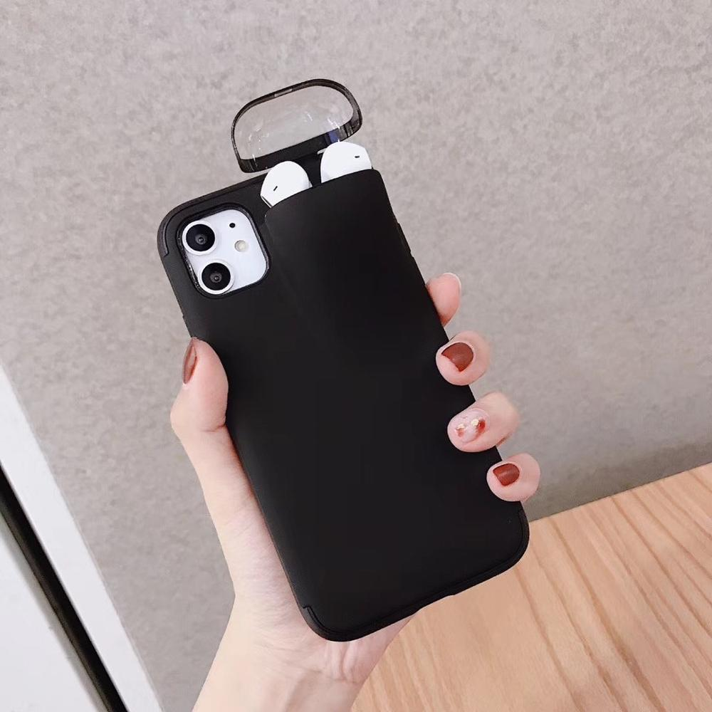 2in1 phone case with earphone case for airpods, Silicone phone case for iPhone 11 pro 6 7 8 plus Xs X max.