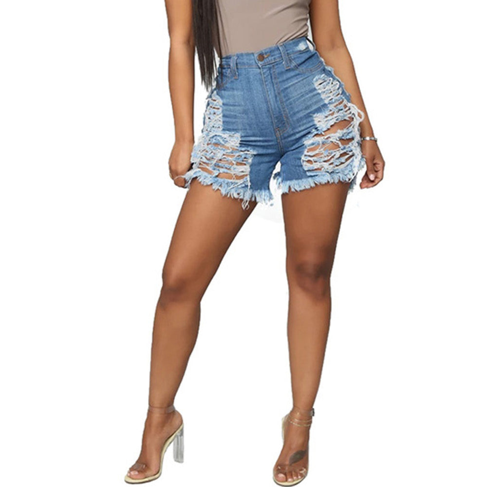 Plus Size Sexy Hollow Up Tassels Cut Open Button Slim Denim Shorts Pants.