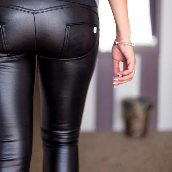 Melody Four Ways Stretchable High Waist Leather Pants With Fleece Lined Winter Warm Zipper Fly Faux Leather Leggings