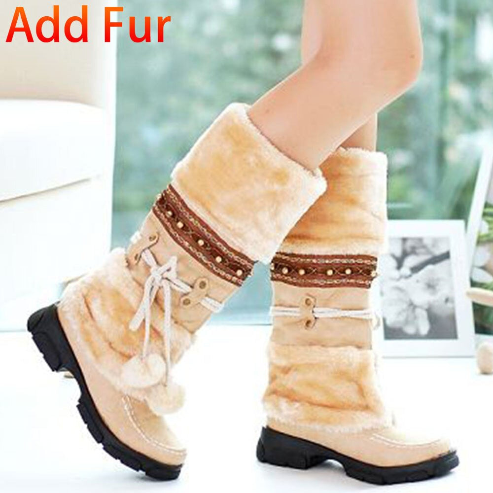 Fur Winter Zipper Casual Knee Boots.