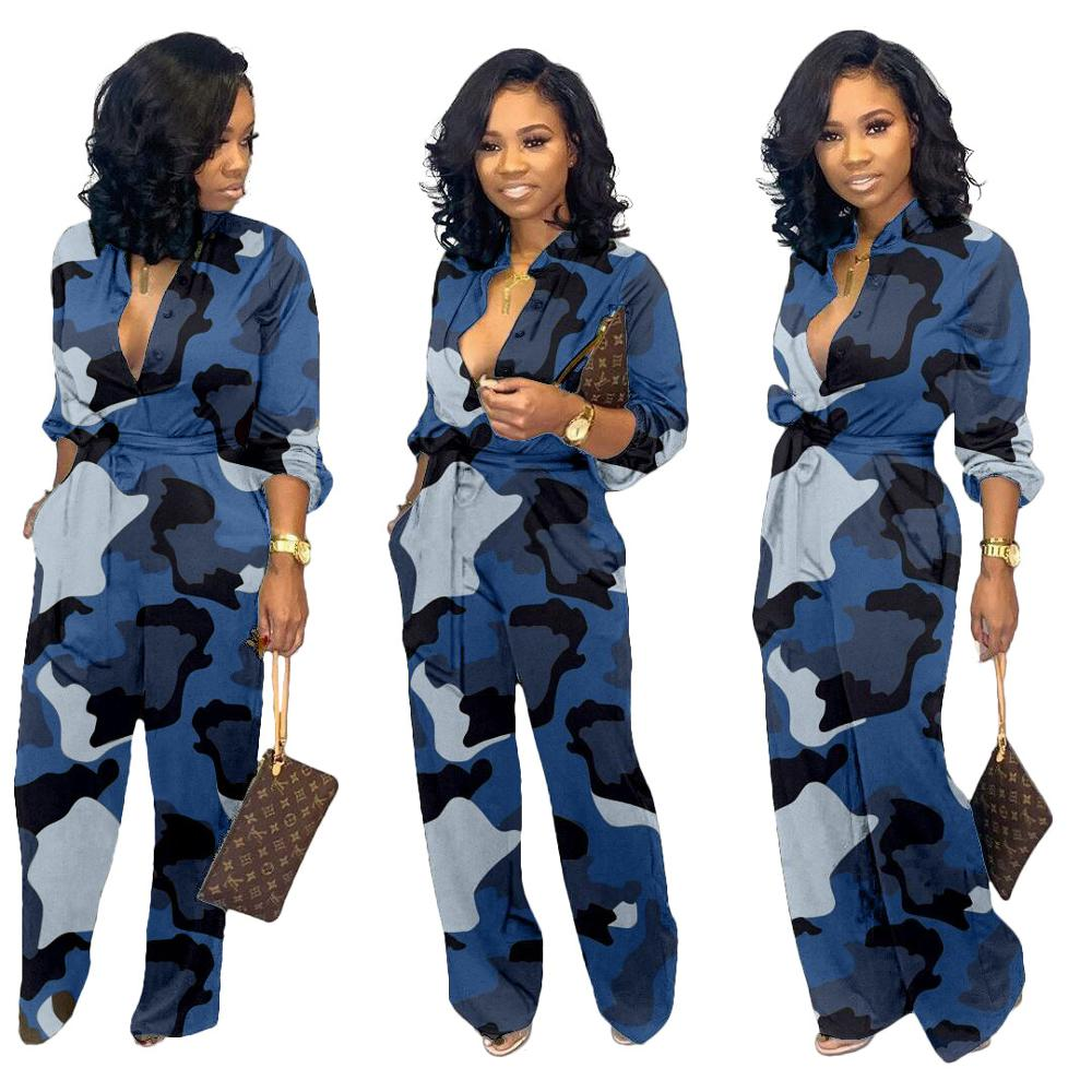 Camo Print Women Jumpsuit Autumn Long Sleeve Wide Leg Pant Plus size Overalls with Pocket