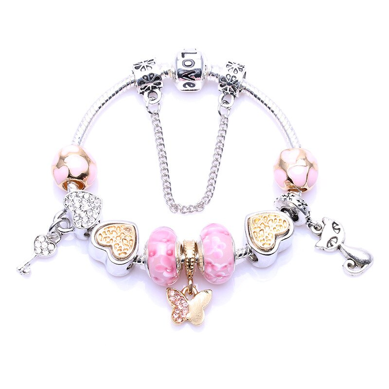 Bracelet European and American Fashion Boutique Glass Bead Butterfly.