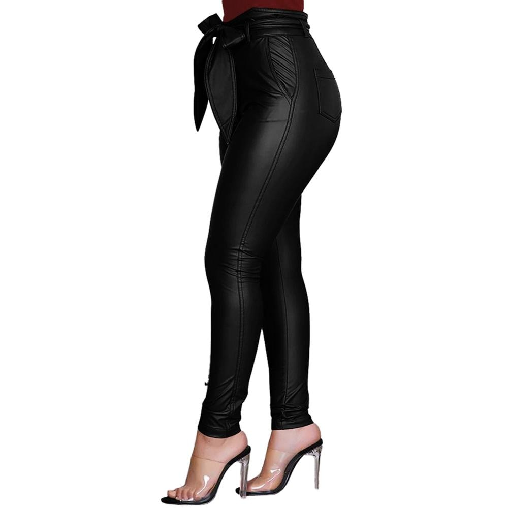 Pu Leather Leggings High Waist Bow Sashes Office Casual Stretch Slim fit.
