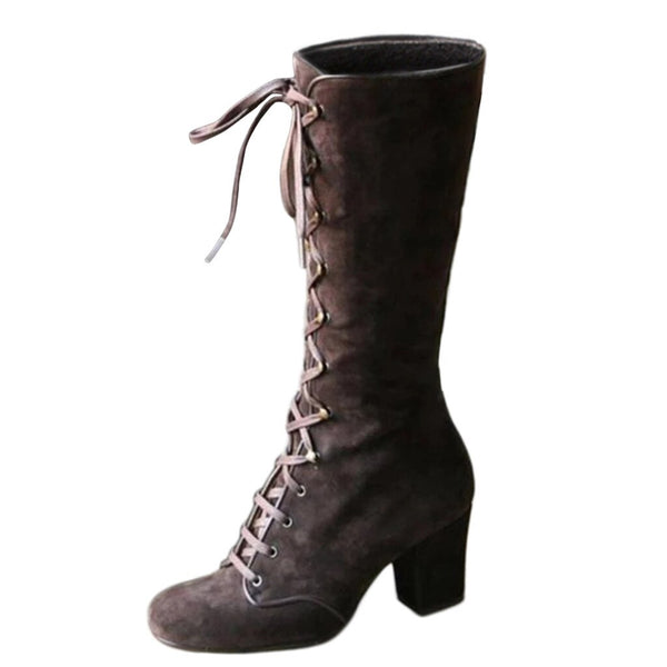 Women's Casual Riding Boots Winter Lace Up Suede Long Tube Knight Boot Female High Heel Cowboy Shoes Mid-Calf Sexy Warm Botas