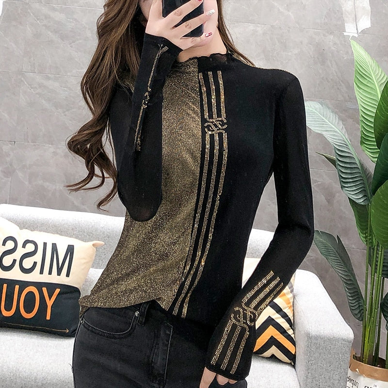 Turtleneck Long Sleeve Tshirt Casual.