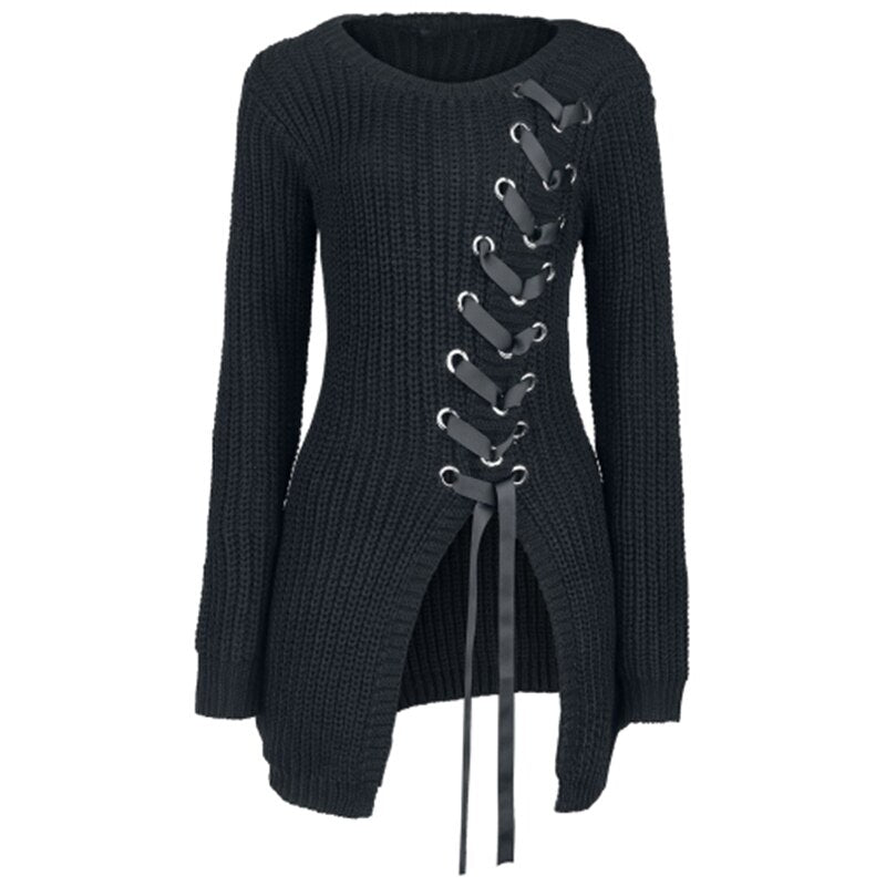 Lace Up Criss Cross Sweaters Women Fashion Solid.