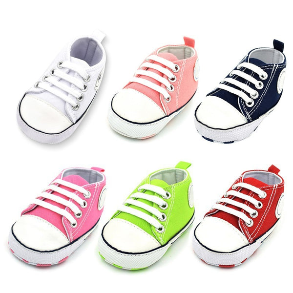 Toddler Baby Boys Girls Star Logo Canvas Shoes Lace-Up Cotton Fabric Sole Sneakers First Walkers for 0-18 Month