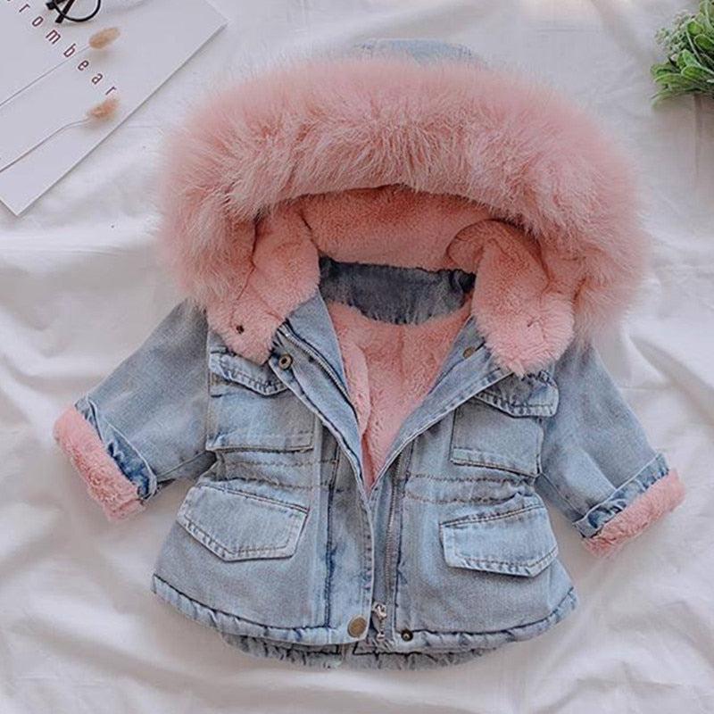 Coats for Girls Fur Collar Jackets For Winter.