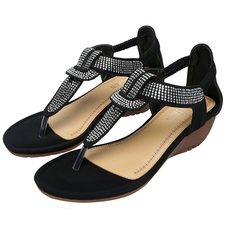 Summer sandals beach shoes round-toe elactic band comfortable.