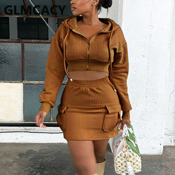 Women Two Piece Dress Suits Long Sleeve Hooded Zipper Crop Top & Bodycon Mini Skirt Set