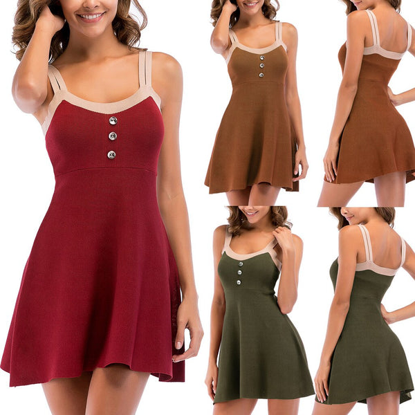 Elegant Dress Female  Women Button Spaghetti Straps Color Block Backless Knitted Flowy A-Line Dress vintage vestidos dress#2812