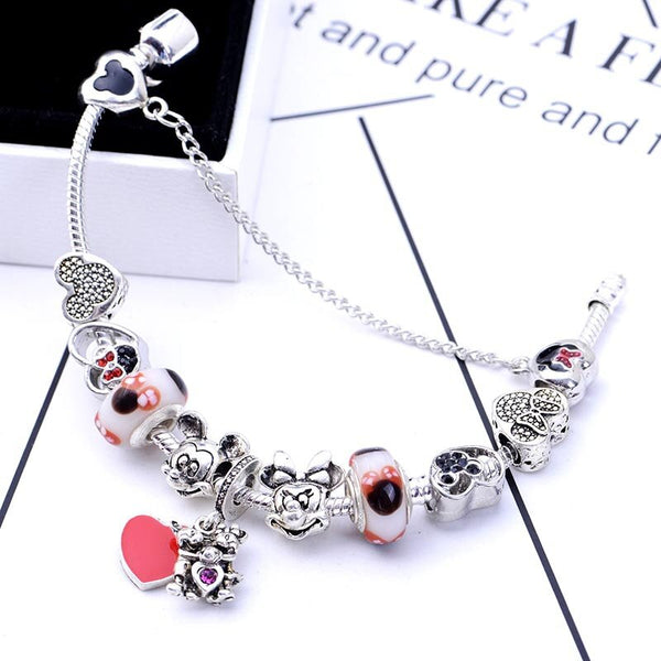 2020 New Cross-Border Anime Cute Mickey Minnie Bear Cuddling Caring Children Bracelet DIY Pandora Charm Beaded Bracelet