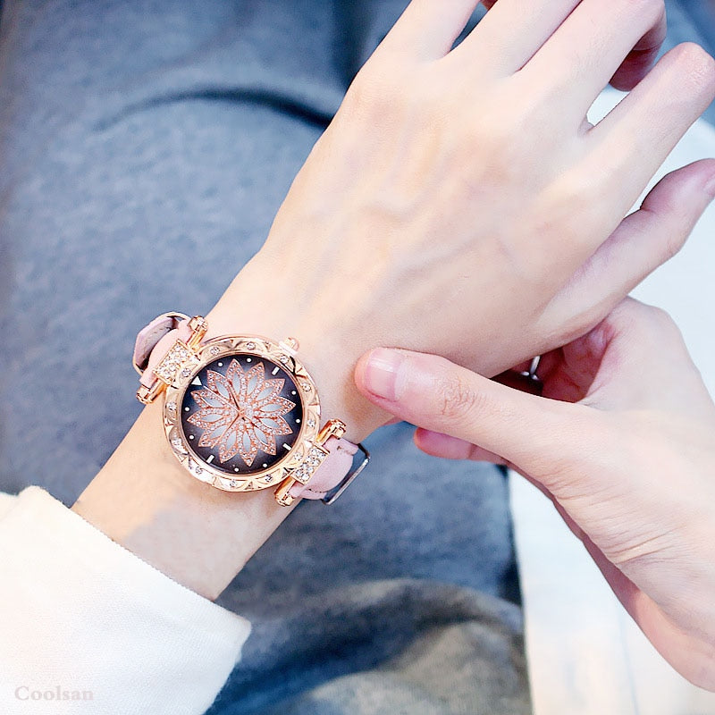 Watches Bracelet set Starry Sky Ladies Bracelet Watch Casual Leather Quartz Wristwatch.