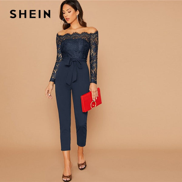SHEIN Black Off Shoulder Lace Bodice Self Belted Jumpsuit Women Autumn Solid High Waist Skinny Party Glamorous Jumpsuits