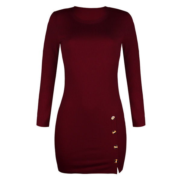 Short Women Dress Long Sleeve 2019 Autumn Winter Sexy Bodycon Mini Dress With Button Slit Plus Size Ladies Casual Black Dress