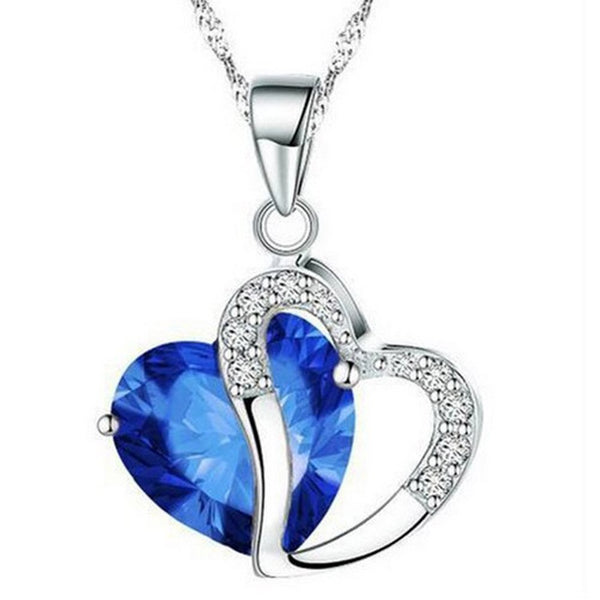 Luxury Women Heart Crystal Pendant Necklace Rhinestone Silver Chain Pendant.