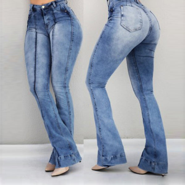 High Waist Flare Jeans Skinny Denim Pants Sexy Push Up Trouser.