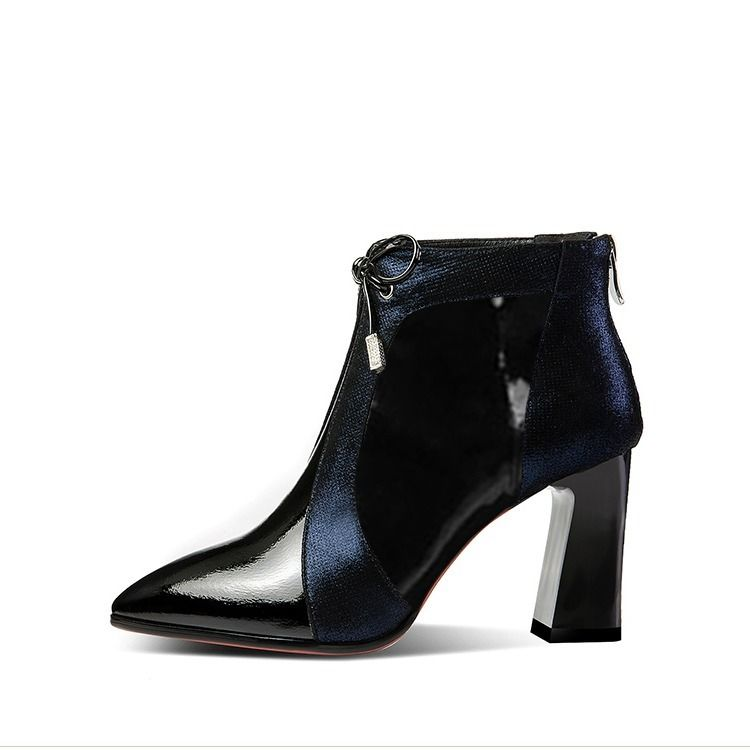 Patent Leather Ankle Pointed High Heel Boots.