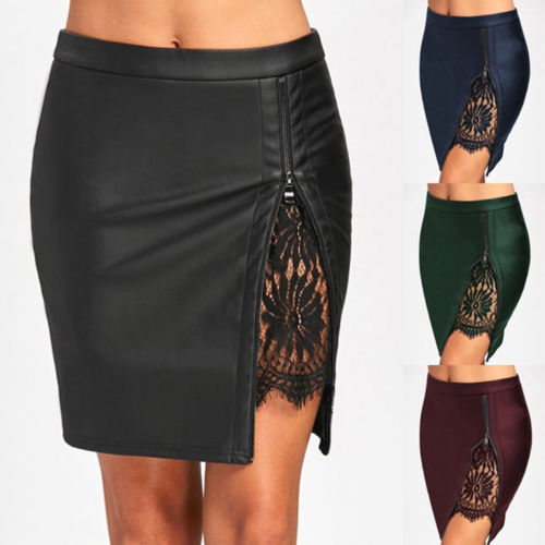 Fashion Women Lady PU Leather Zipper Skirts High Waist Slim Bodycon Lace Short Mini Pencil Skirt Hot