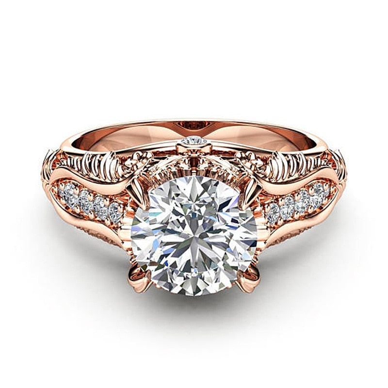 Rose Gold Wedding Ring for Women Micro-inlaid Simulation Ring.