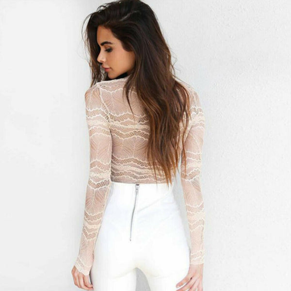 New trendy see-through solid lace Bandage Women Ladies Bodysuit Stretch  Long Sleeve Body Tops bodysuits
