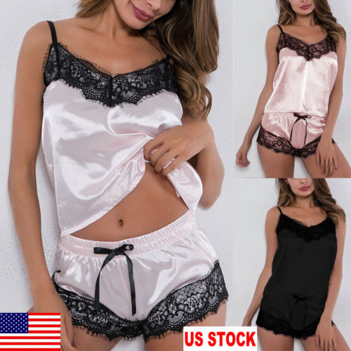 USA Women Sexy Satin Lingerie Underwear Babydoll Sleepsuit Nightwear Sleepwear