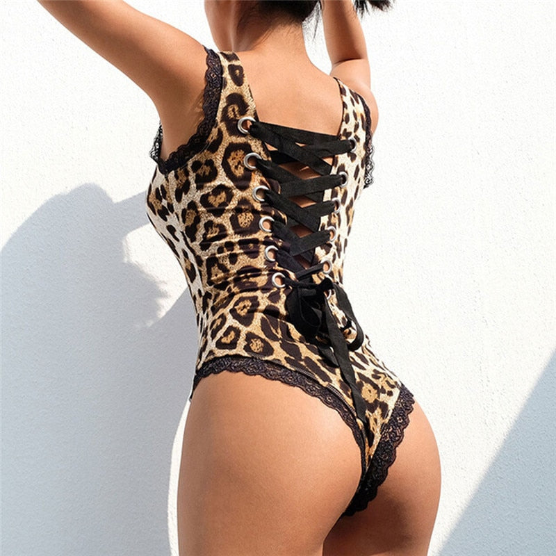 Back Lace Up Jumpsuits Sexy Summer Sleeveless Leopard Printing Stretch Skinny Slim Lace Bodysuits