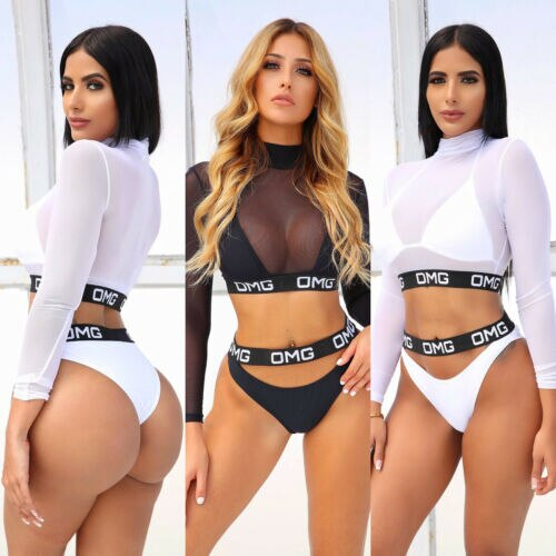 3PCS Sexy Women Bikini Set Mesh OMG Letter Swimwear Bathing Beachwear Swimsuit Swimming Costumes