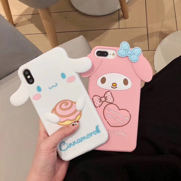 Luxury 3D Japanese cute cartoon Melody Cinnamoroll silicone phone case for iphone 6 6s 7 8 plus X XR XS MAX girl coque