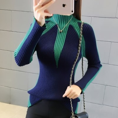 Hit Color Knitting Pullovers Thick Sweater Pull