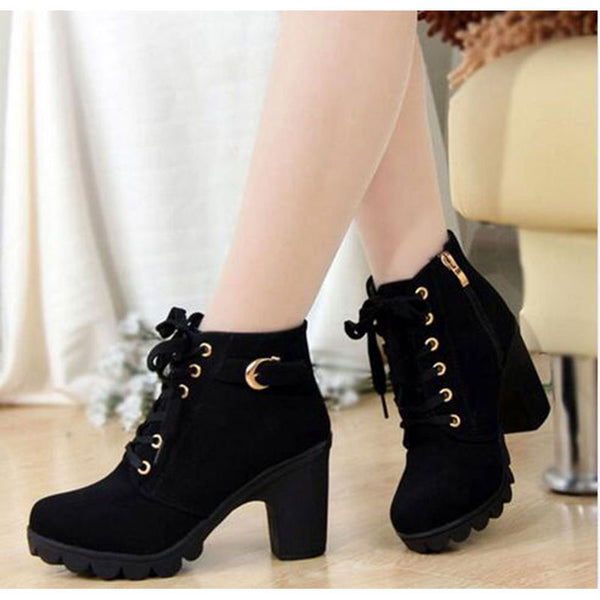 High Quality Lace-up ladies shoes woman PU leather fashion high heels boots women 2018 new autumn winter women ankle Boots