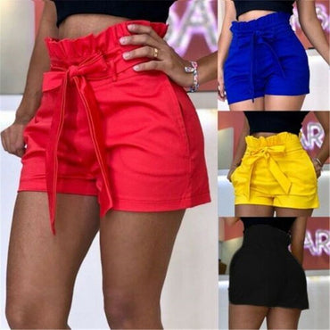 Summer Ladies Boho Beach High Waist Drawstring Shorts Women Casual Solid Loose Belt Shorts