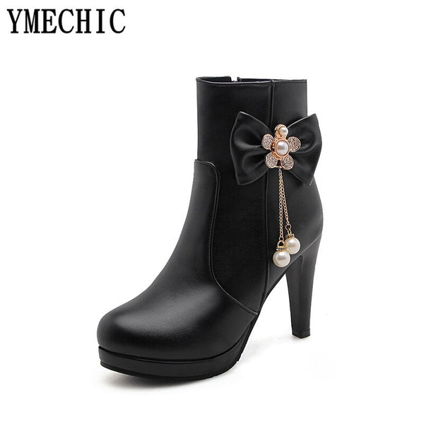 YMECHIC 2018 Lady Lovely Lolita High Heel Party Wedding Shoes Womens Pink White Butterfly-knot Bead Crystal Fashion Ankle Boots