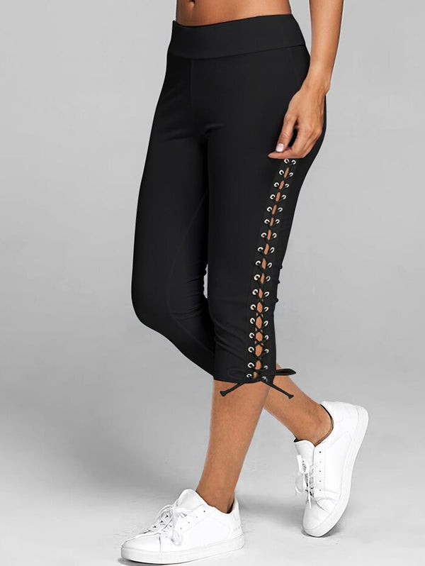 Lace Up Capri Leggings Casual High Waist Women Side Bandage Women Leggings Mid-Calf Women Bottoms Trouser Solid White Black