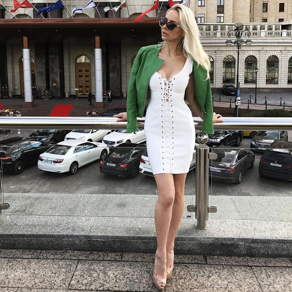 INDRESSME 2019 Women Bandage Dress Sexy Lace Up Sleeveless Bodycon Club Party Dresses New Fashion