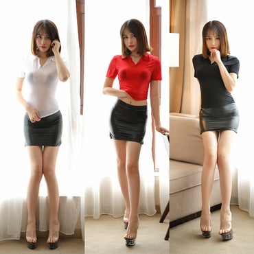 Sexy Women Turn-down Collar See Through Transparent OL T-shirt Ice Silk Smooth T-shirt Erotic Lingerie Club Pole Dance Wear F35
