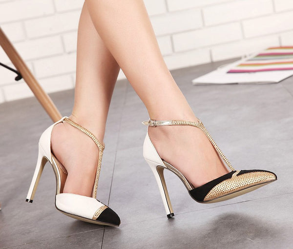 High Heels Pumps Sexy Pointed Stiletto Gold Dress shoes