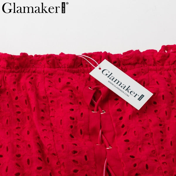 Glamaker Red ruffle dot sexy beach dress Women off shoulder lace up short party bodycon dress Female mini dress vestidos 2019